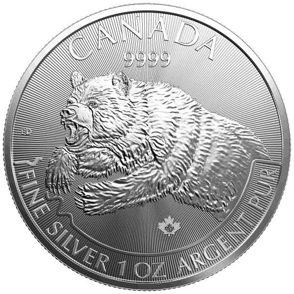 Silbermünze Grizzly Canada Wildlife 2017 1oz Silber