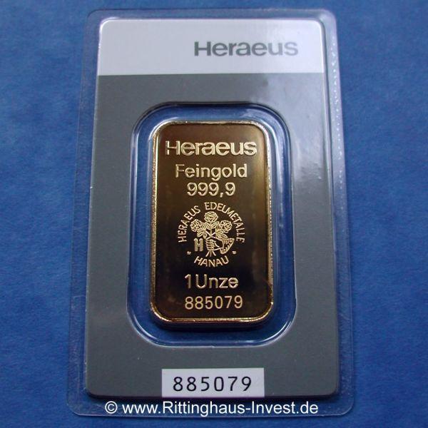 Goldbarren 1 Unze Heraeus 999,9 Feingold verschweißt zertifikat Gold