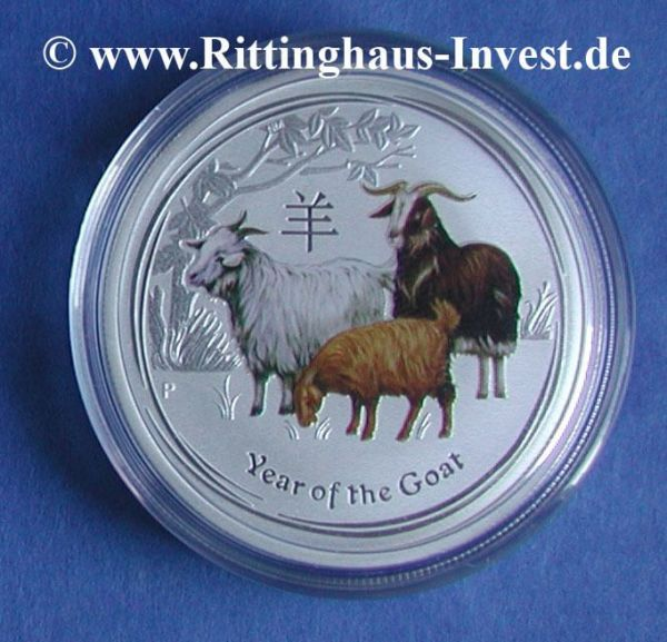 Lunar II Ziege farbig coloriert Goat Perth Mint coloured 2 Oz