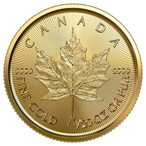 Goldmünze Maple Leaf 2019 1/20 oz zwanzigstel Unze 1 Dollar