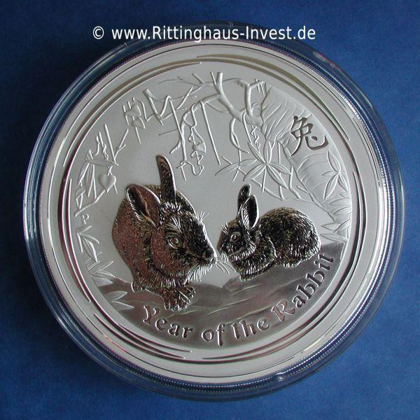 1 Kilo Hase Rabbit 2011 Silbermünze Silber silver 30 Dollars
