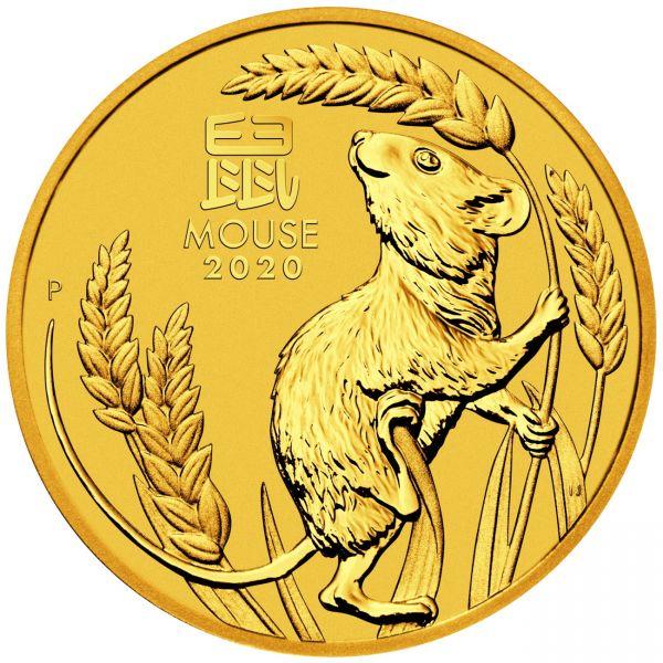 Goldmünze Lunar III Maus 1/20 oz Jahr der Maus 2020 Gold zwanzigstel Unze
