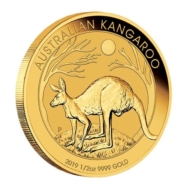 Australian Kangaroo 2019 Känguru 1/2oz halbe Unze Goldmünze Gold coin edge
