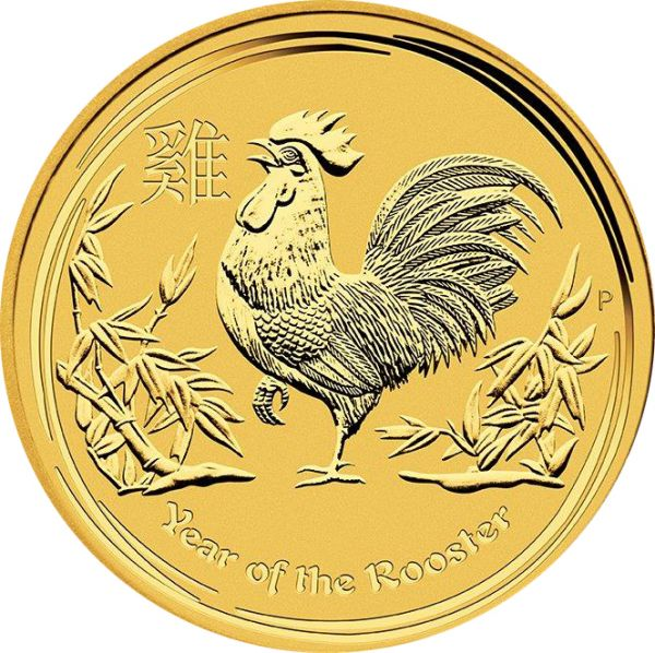 1 Unze Goldmünze Lunar II Hahn Year of the Rooster 2017 1oz Gold Perth Mint