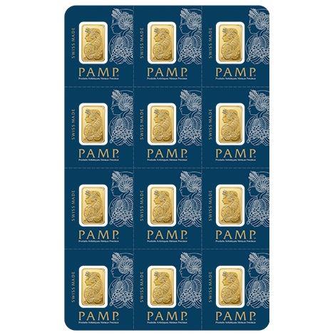 Multigram+12 x 1 g Goldbarren Pamp Suisse Fortuna teilbares Gold bars diversible