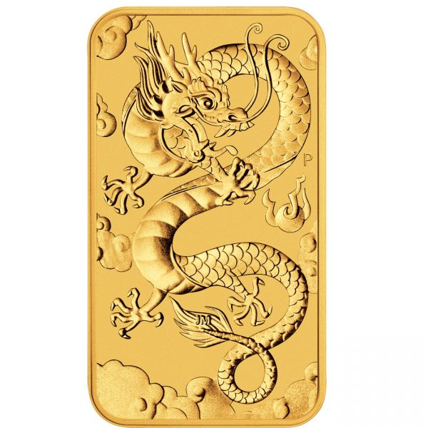 2019 Drache Goldmünzbarren rectangular dragon Perth Mint silver coin bar Goldbarren