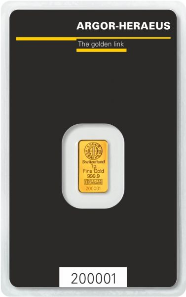 Goldbarren Argor-Heraeus 1g im Blister 999.9 Gold bar