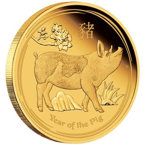 Lunar II Schwein 2019 Goldmünze zehntel Unze polierte Platte