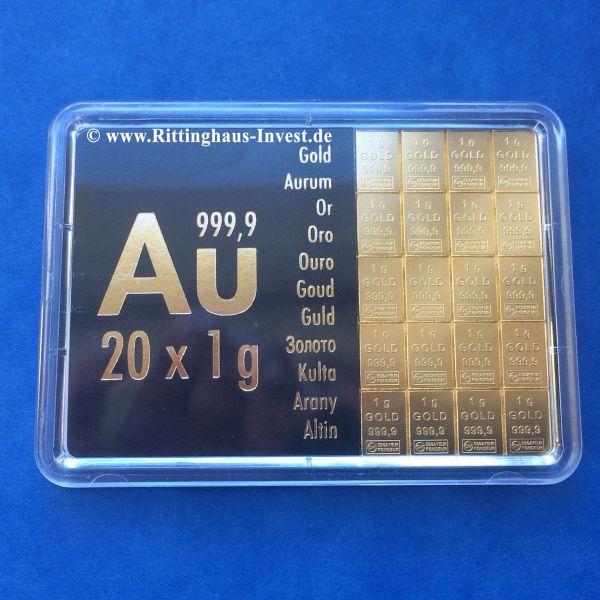 Combibar 20 g Goldbarren 20 x 1 g Tafelbarren Valcambi