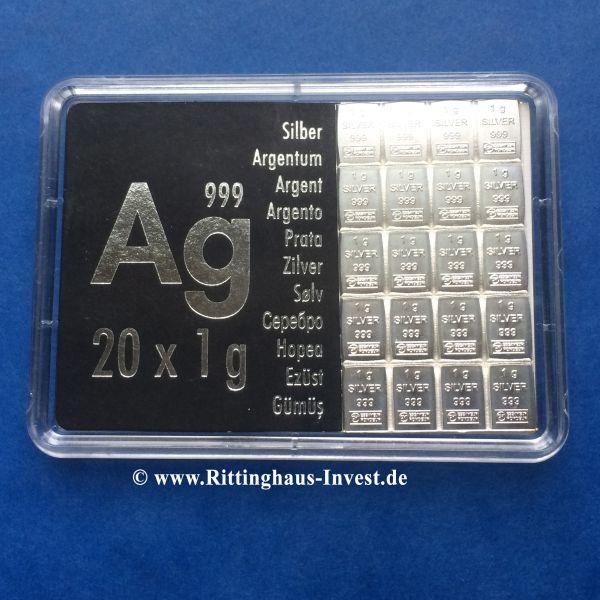 20 x 1g Tafelbarren Silber CombiBar Valcambi Suisse teilbares Silber