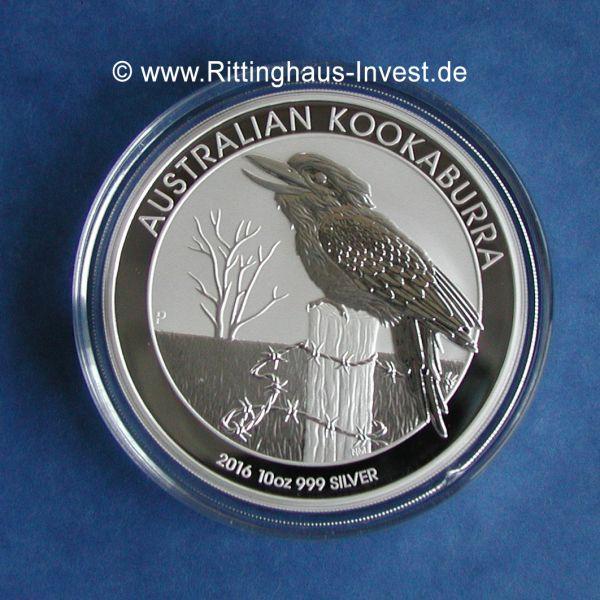 Silbermünze Australian Kookaburra 2016 10 Oz SIlber 10 Unzen