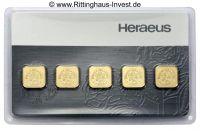 Multicard 5 g Goldbarren 5 x 1 Gramm Gold