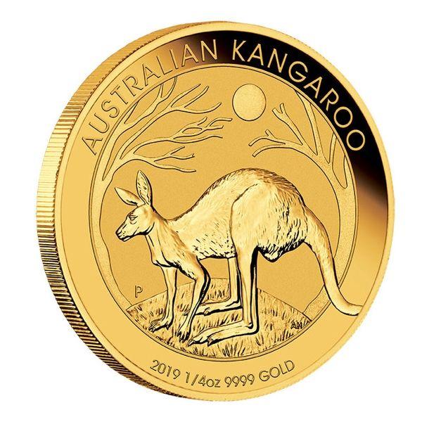 Australian Kangaroo 2019 Känguru viertel Unze Goldmünze 1/4oz Gold coin edge