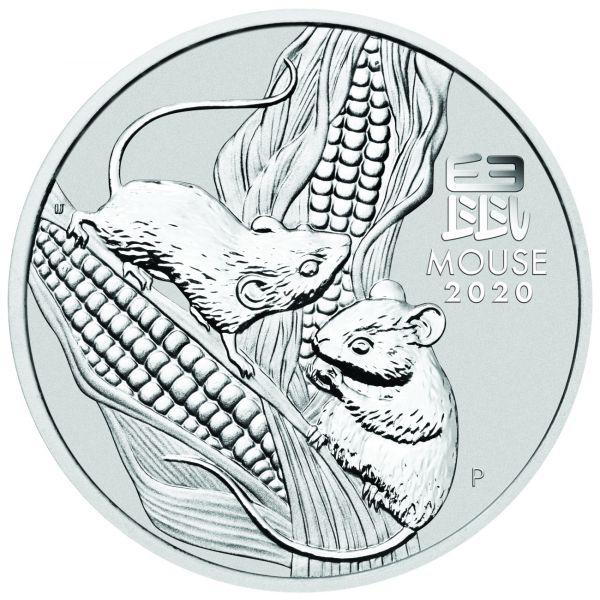 Lunar III Maus 5 Unzen Silbermünze Jahr des Maus 2020 Silber 5oz silver mouse