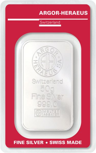 Silberbarren 50 Gramm Argor Heraeus 999,9 Feinsilber im Blister