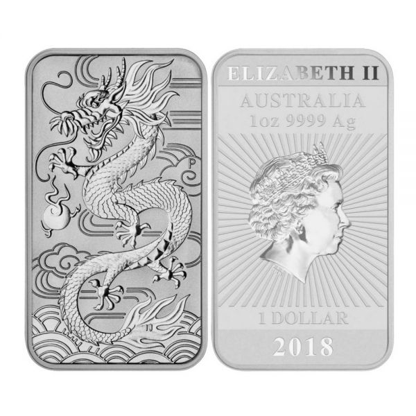 rectangular dragon Silbermünzbarren Drache 1oz 2018 Perth Mint