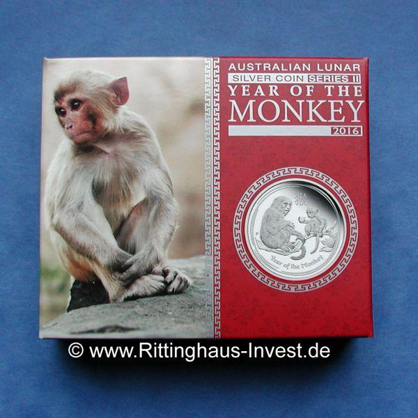Verpackung Lunar II Affe PROOF pp 1/2 Unze Silber Monkey 2016