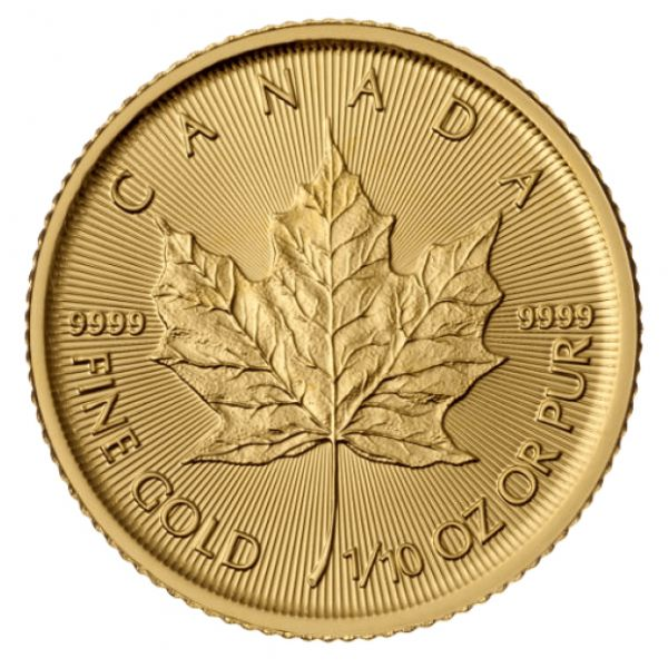 Goldmünze Maple Leaf 1/10 oz zentel Unze 5 Dollars