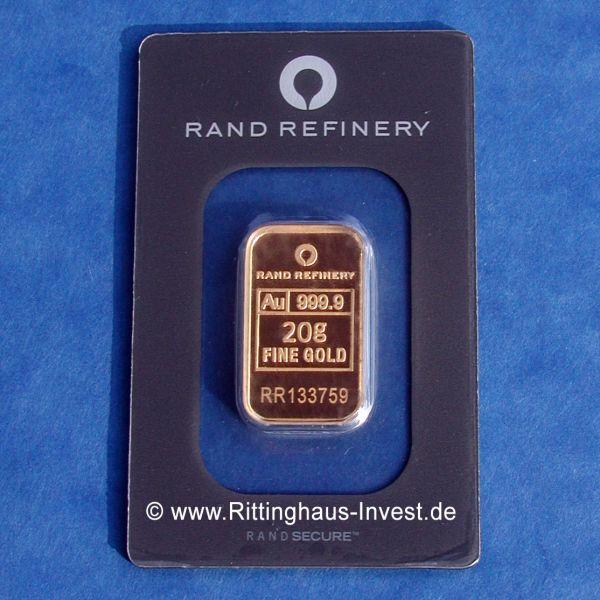 Rand Refinery Goldbarren 20g Elefant Gold 999,9 fine gold gold bar