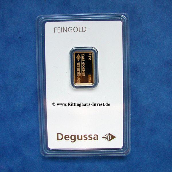 Degussa Goldbarren 2,5 g 999,9 Feingold Blister