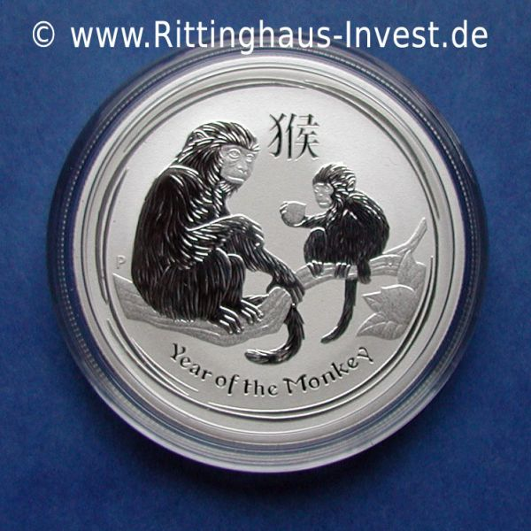 Lunar Affe halbe Unze Silbermünze Monkey 2016 0.5 Oz silver coin 50 cents