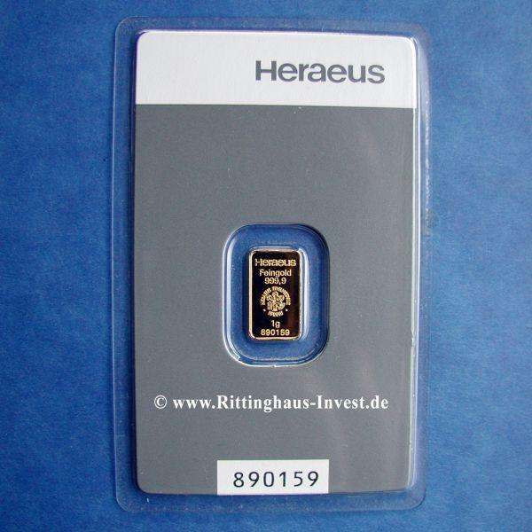 Goldbarren 1 Gramm Heraeus 999,9 Feingold Blister