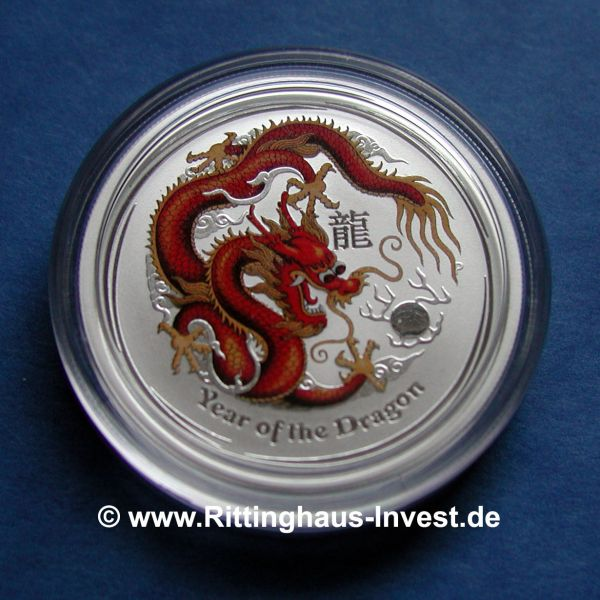 Lunar II Drache 10 Unzen farbig colorierte Silbermünze dragon coloured edition 10Oz Oz