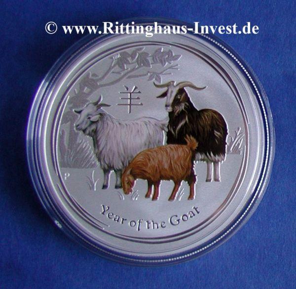 Lunar II Ziege Silbermünze farbig coloriert coloured Goat 2015 silver