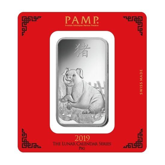 Silberbarren 100 g Lunar Schwein Pamp Suisse 999 Feinsilber Blister Echtheitszertifikat