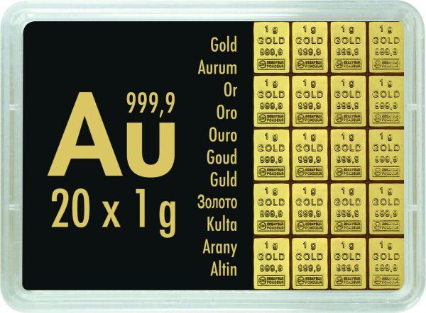 20x1g Combibar teilbare Goldbarren Goldtafel 20 x 1g
