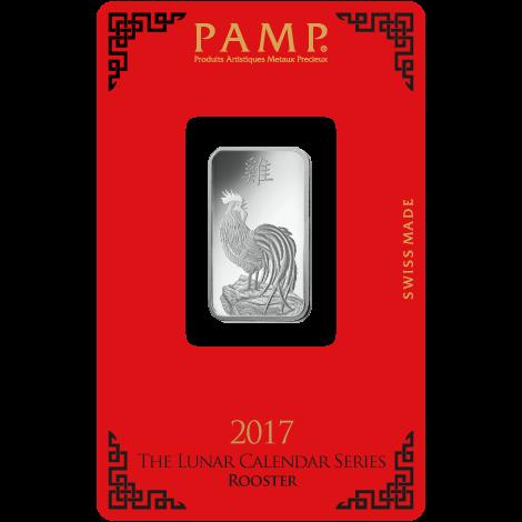 Silberbarren 10 g Lunar Hahn Pamp Suisse 999 Feinsilber Blister
