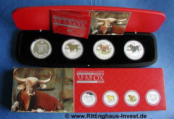 Australia Lunar II Serie Ochse 2009 Typeset mit Box, Schatulle und Zertifikat Ox