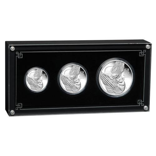 Lunar III Maus 2020 3 Silbermünzen Set three-coin set polierte Platte PP Proof mouse Präsentationsbox