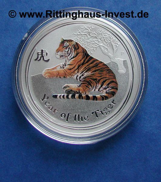 the Perth Mint Lunar 2 Tiger farbig coloured