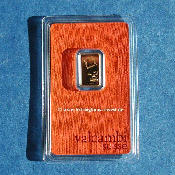 Valcambi Suisse 2,5 g Goldbarren Blister
