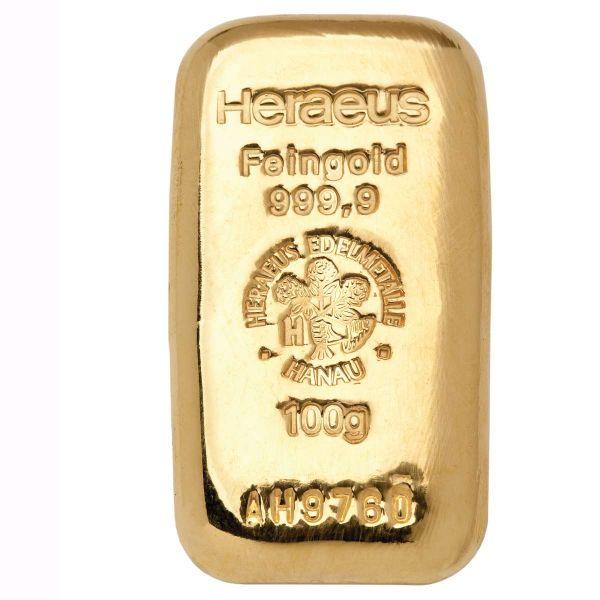 100 g Gußbarren Feingold 999,9 Heraeus Goldbarren goldbar gold 100 Gramm