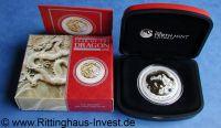 Lunar 2 Drache vergoldet gilded Perth Mint dragon 2012 box