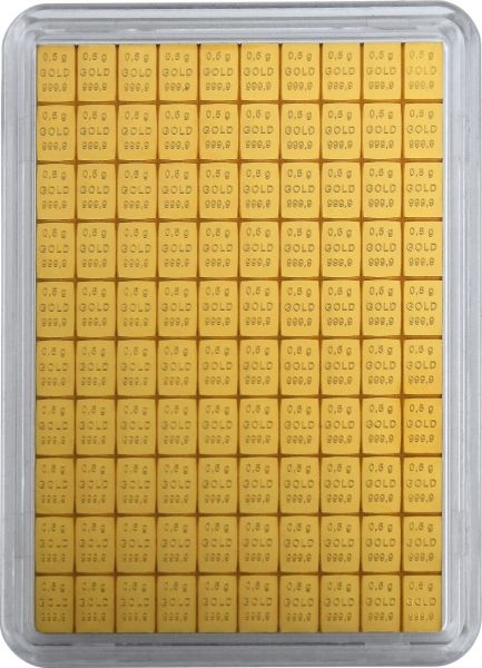 100x 0,5g Goldtafel Tafelbarren Combibar Valcambi Suisse teilbares Gold 0,5 g Goldbarren