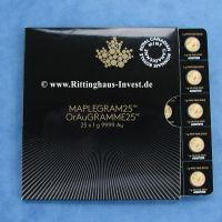 Maplegram25 OrAuGramme25 25 x Maple Leaf 1 Gramm Goldmünzen