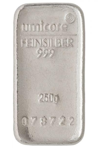 250g Umicore Silberbarren silver bar Silber 999 Feinsilber