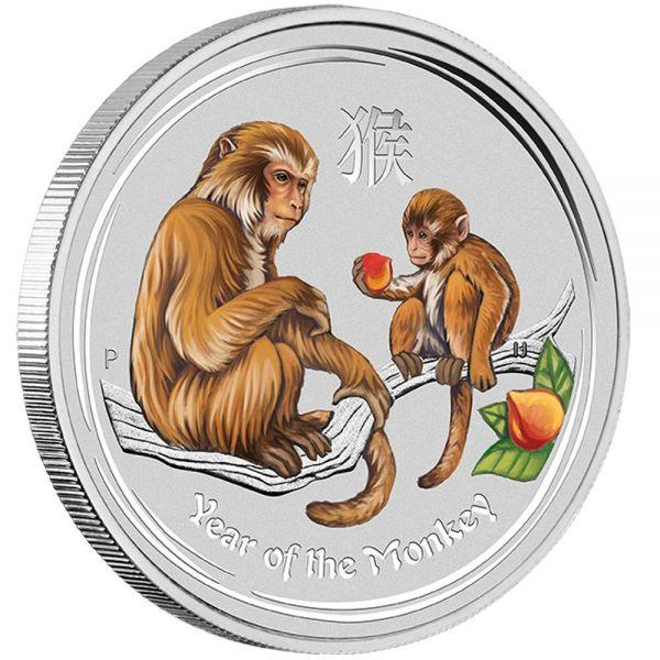 Silbermünze Affe 1 Unze farbig coloriert Farbe Monkey coloured edition