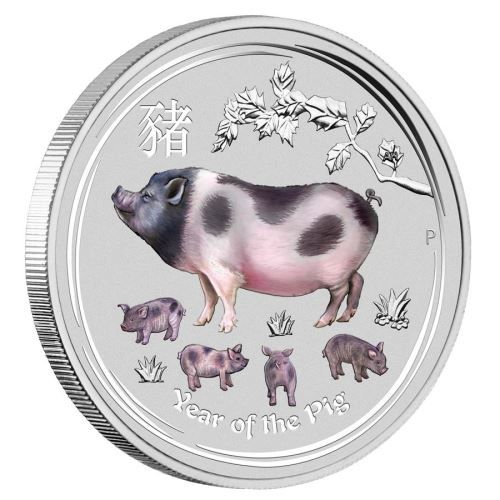 Silbermünze farbig coloriert Lunar II Schwein 2019 1oz Silber Farbe 1 Unze Pig coloured
