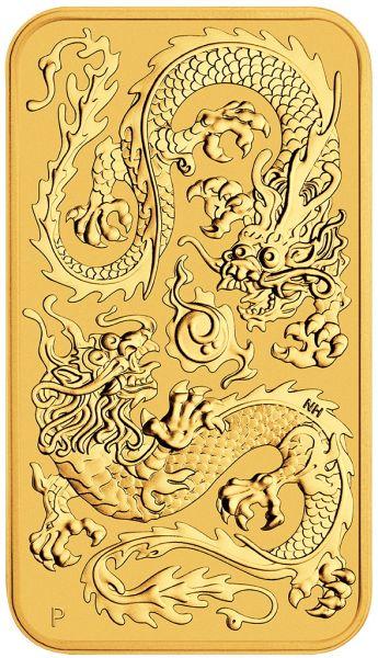 2020 Drache Goldmünzbarren rectangular dragon Perth Mint gold coin bar Goldbarren