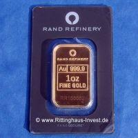 Rand Refinery Goldbarren 1oz fine gold elefant goldbar 999,9 1 ounce 1oz
