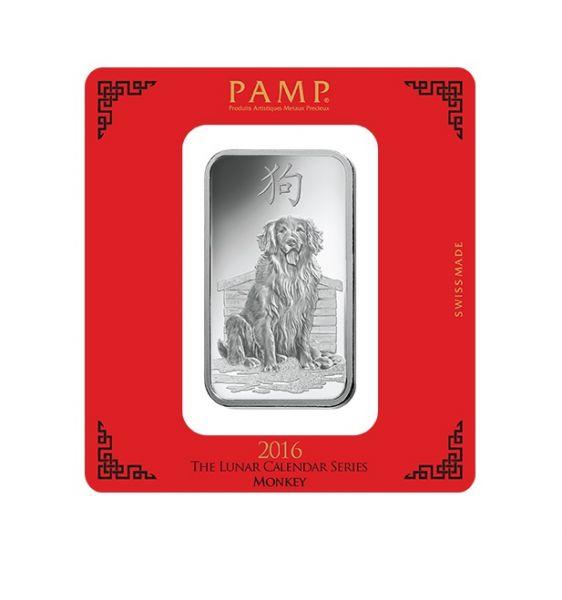 Silberbarren 100 g Lunar Hund Pamp Suisse 999 Feinsilber Blister Echtheitszertifikat