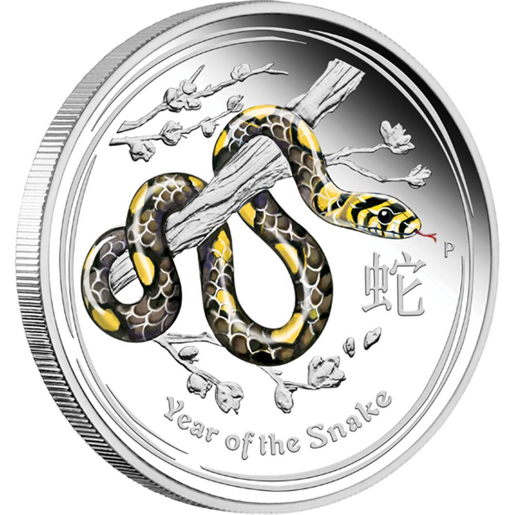 Silver Coin Lunar Ii Snake 2013 1oz Proof Coin Coloured