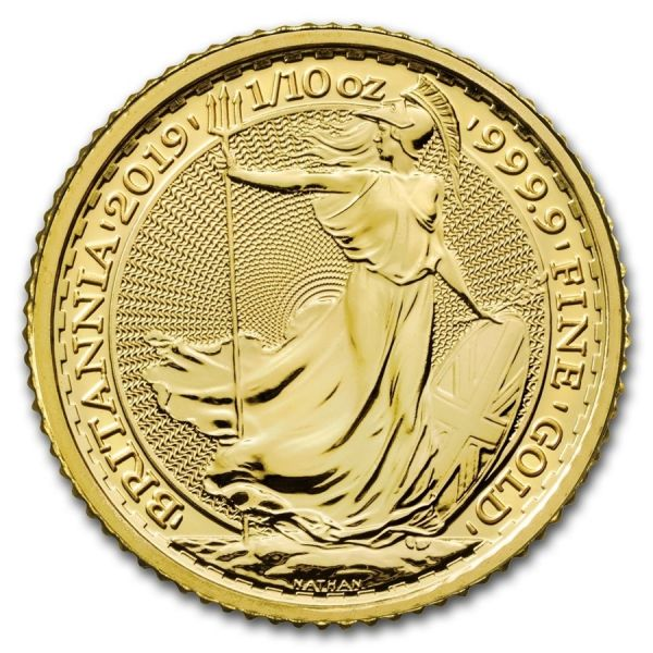 Goldmünze Britannia 1/10oz 2017 Rückseite zehntel Unze Gold
