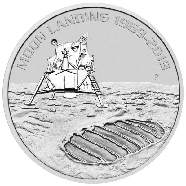 50 Jahre Mondlandung Apollo 11 1oz Silbermünze Perth Mint Moon landing 1969 - 2019