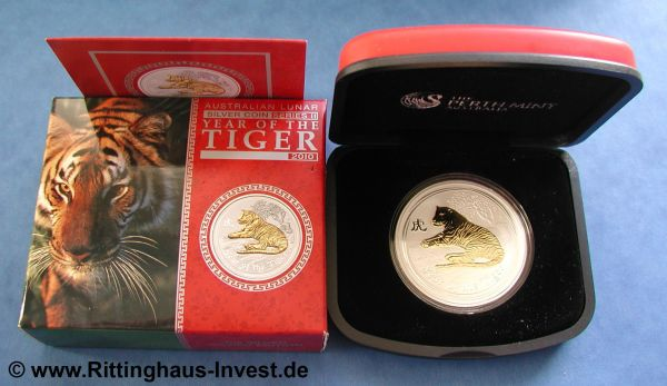 Lunar 2 Tiger vergoldet gilded Perth Mint 2010 box