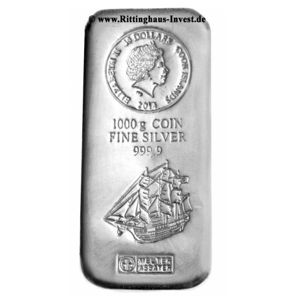 1 kg Silberbarren Silbermünzbarren Cook Islands